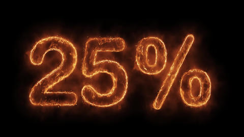 25% Percent Off Word Hot Animated Burning Realistic Fire Flame Loop Live Action