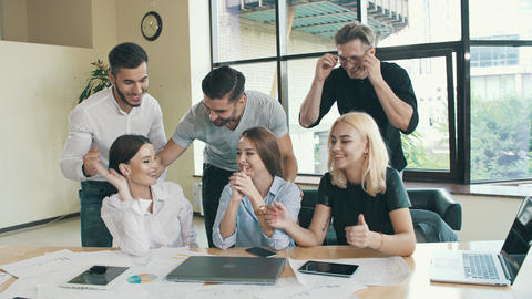 Team of coworkers are made successful deal Live Action