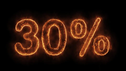30% Percent Off Word Hot Animated Burning Realistic Fire Flame Loop Live Action