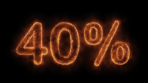 40% Percent Off Word Hot Animated Burning Realistic Fire Flame Loop Live Action