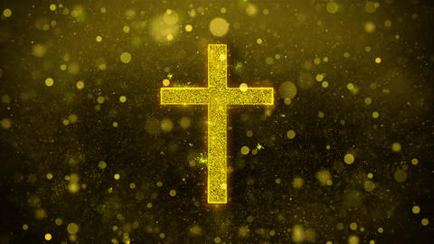 Church Cross Christianity Religion Icon Golden Glitter Shine Particles Live Action