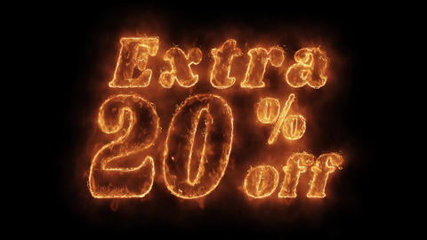 Extra 20% Percent Off Word Hot Animated Burning Realistic Fire Flame Loop Footage