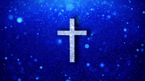 Church Cross Christianity Religion Icon Blinking Glitter Glowing Shine Particles Live Action