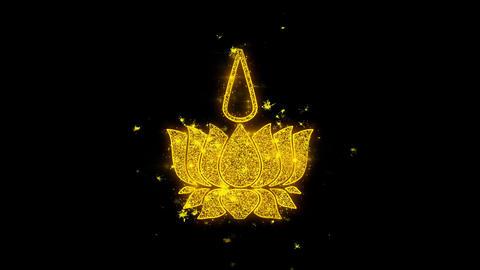 Religious symbol Ayyavazhi symbolism Icon Sparks Particles on Black Background Live Action