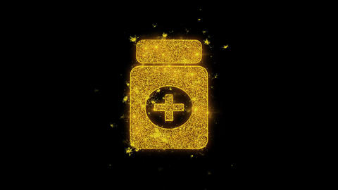 Medicine Health Care Icon Sparks Particles on Black Background Live Action