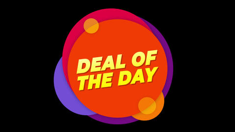 Deal Of The Day Text Flat Sticker Colorful Popup Animation Live Action