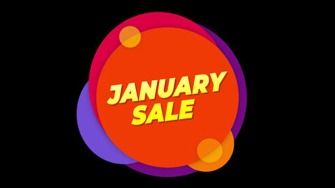 January Sale Text Sticker Colorful Sale Popup Animation Footage