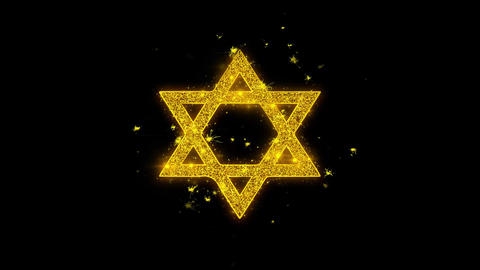 David The Jewish star Religion Icon Sparks Particles on Black Background Live Action