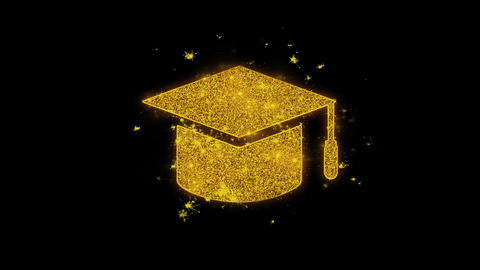 Education, Graduation Cap hat Icon Sparks Particles on Black Background Footage