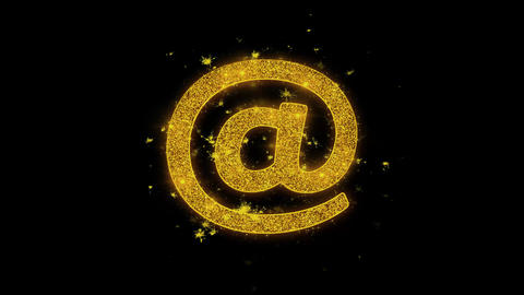 E mail, Email, Email, Inbox, Mail, Message Icon Sparks Particles on Black Live Action