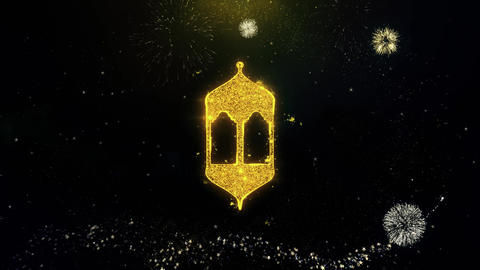 Islamic Icon, Mosque religious, muslim Icon on Gold Particles Fireworks Display Live Action