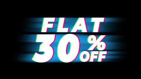 Flat 30% Percent Off Text Vintage Glitch Effect Promotion Footage