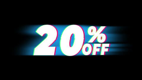 20% Percent Off Text Vintage Glitch Effect Promotion Footage