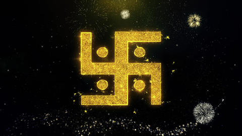 Hindu, holy, indian, religion, swastika, swastika Icon on Gold Particles Live Action