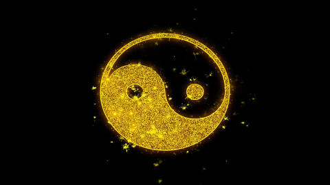 Yin Yang Taoism buddhism daoism religion Icon Sparks Particles on Black Live Action