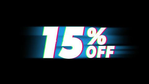 15% Percent Off Text Vintage Glitch Effect Promotion Live Action