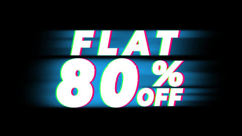 Flat 80% Percent Off Text Vintage Glitch Effect Promotion Live Action