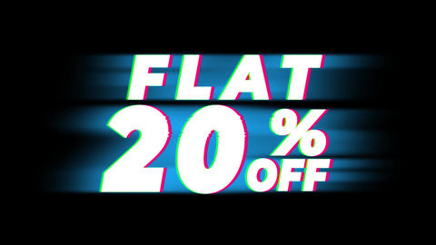 Flat 20% Percent Off Text Vintage Glitch Effect Promotion Footage