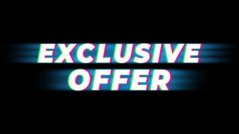 Exclusive Offer Text Vintage Glitch Effect Promotion Live Action