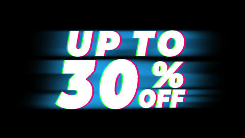 Up To 30% Percent Off Text Vintage Glitch Effect Promotion Footage