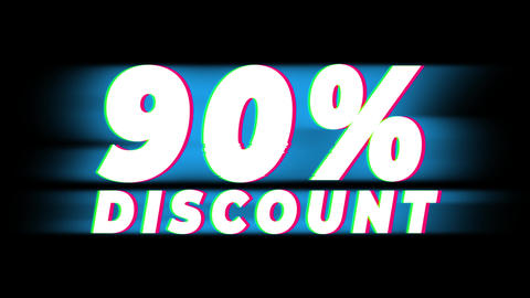 90% Percent Discount Text Vintage Glitch Effect Promotion Live Action