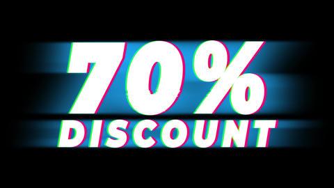 70% Percent Discount Text Vintage Glitch Effect Promotion Live Action