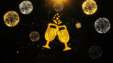 Cheers Celebration Toast Two Glasses Champagne Icon on Firework Display Footage
