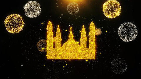 Islamic Icon, Mosque religious, muslim Icon on Firework Display Explosion Live Action
