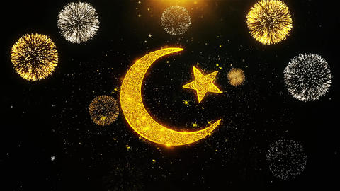 Star and Crescent symbol Islam religion Icon on Firework Display Explosion Live Action