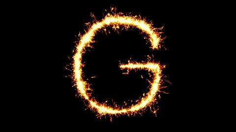 Alphabet G Text Sparkler Glitter Sparks Firework Loop Animation Live Action