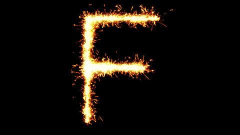 Alphabet F Text Sparkler Glitter Sparks Firework Loop Animation Live Action