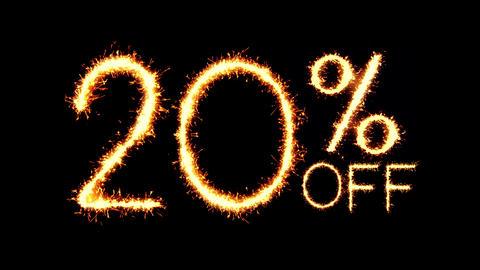 20% Off Text Sparkler Glitter Sparks Firework Loop Animation Footage