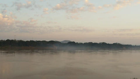 Mekong river at chiang kan , Loei province Thailand Live Action