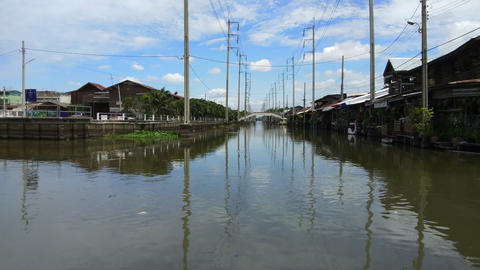 Time lapse of community canal in Bangkok Thailand Footage