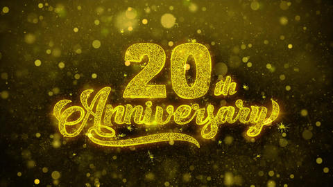 20th Happy Anniversary Golden Text Blinking Particles with Golden Fireworks Live Action