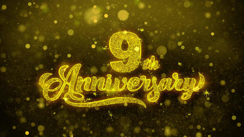 9th Happy Anniversary Golden Text Blinking Particles with Golden Fireworks Live Action