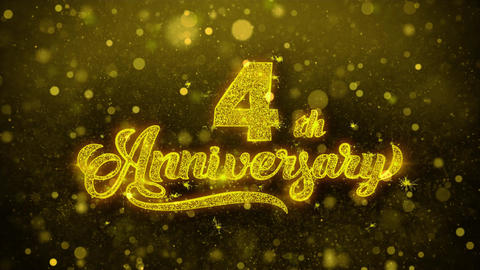 4th Happy Anniversary Golden Text Blinking Particles with Golden Fireworks Live Action