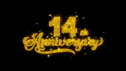 14th Happy Anniversary Typography Written with Golden Particles Sparks Fireworks Live Action