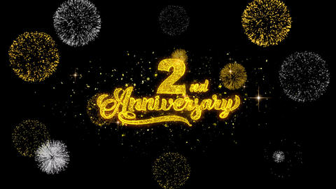 2nd Happy Anniversary Golden Text Blinking Particles with Golden Fireworks Footage