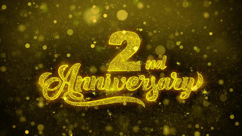 2nd Happy Anniversary Golden Text Blinking Particles with Golden Fireworks Live Action