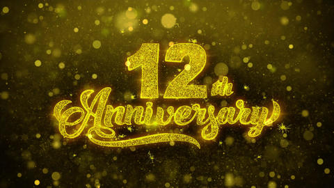 12th Happy Anniversary Golden Text Blinking Particles with Golden Fireworks Live Action
