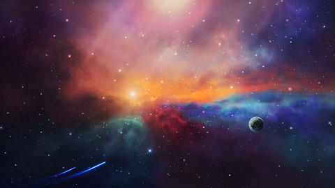 Space scene. Two small spaceship fly in colorful nebula with planet. Elements furnished by NASA. 3D Animation