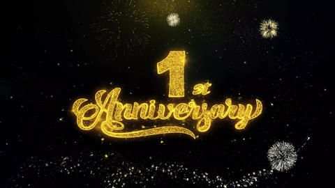 1st Happy Anniversary Written Gold Particles Exploding Fireworks Display Footage