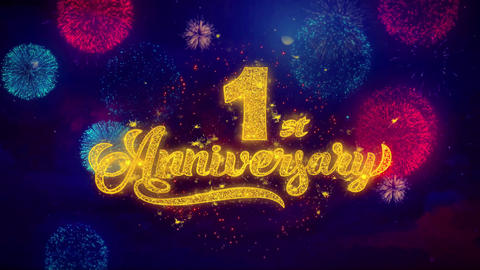 1st Happy Anniversary Greeting Text Sparkle Particles on Colored Fireworks Footage