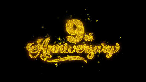 9th Happy Anniversary Typography Written with Golden Particles Sparks Fireworks Footage