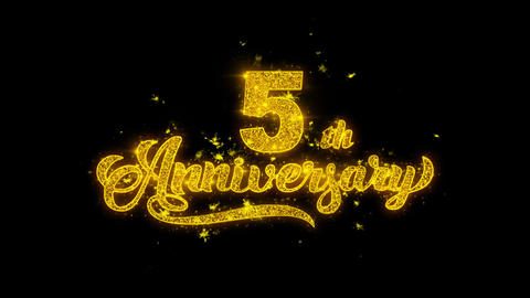 5th Happy Anniversary Typography Written with Golden Particles Sparks Fireworks Live Action