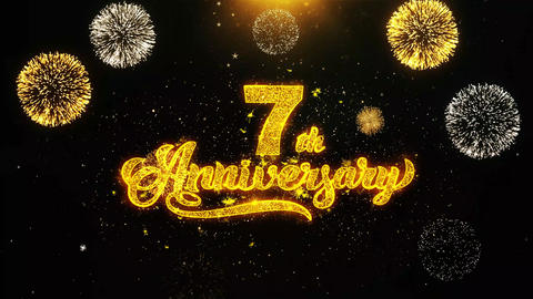 7th Happy Anniversary Wishes Greetings card, Invitation, Celebration Firework Live Action