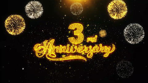 3rd Happy Anniversary Wishes Greetings card, Invitation, Celebration Firework Live Action