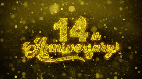 14th Happy Anniversary Golden Text Blinking Particles with Golden Fireworks Footage