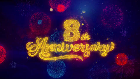 8th Happy Anniversary Greeting Text Sparkle Particles on… Stock Video Footage